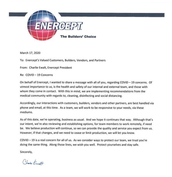 COVID-19 letter from Enercept President